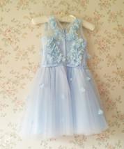 Full Flowers Embroidery Short Flower Girl Dress Blue Wedding Birthday Dress NWT image 5
