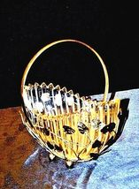 Heavy Glass Basketwith Metal Carrier with handle / Leaf DesignAA18-11912 Vint image 4