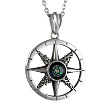 Stainless Steel Mens Class Hollow Compass Pendant Necklace,Chain Included - $34.67