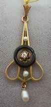 Victorian Gold Enamel Lavaliere Pendant with Genuine Natural Diamond (#1... - $252.23