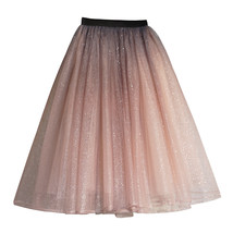 Rose Sparkle Tulle Skirt Long Tutu Glitter Skirt Rose Gold Sequin Party Outfit image 7