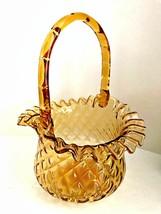 Amber Glass Basket Ruffled Rim Diamond Cut Applied Handle Unmarked Fenton   - $58.40