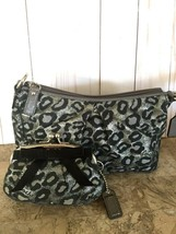 COACH Metallic Black Silver Ocelot Leopard Evening Bag Wristlet & kisslo... - $44.55
