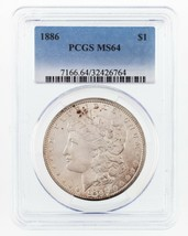 1886 $1 Silver Morgan Dollar Graded by PCGS as MS-64 - $89.10