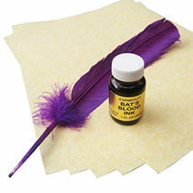 Bat's Blood Spell Writing Kit w/ Parchment, Ink, and Feather Ritual Set ... - $34.17