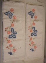 Vintage Hand Embroidered Pillowcases Lot of 2 Blue Butterflies Coral Flo... - $17.29