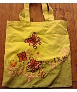 yellow green hollister tote bag  embroidered butterflies tie dye euc - $9.50