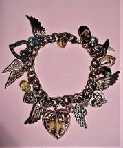 Vintage Signed Kirks Folly Charm Bracelet Angel Angel Wings Hearts - $123.75