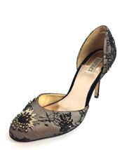 10 Badgley Mischka Black/Beige Lace Overlay Floral Beading Detail D'Orsa... - $71.28