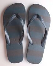 Mens Navy Shane Blue Brown Stripe Rubber Flip Flops Beach Slipper Sandals New