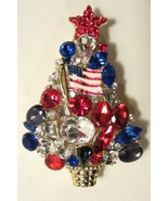 RED WHITE & BLUE US FLAG PATRIOTIC CHRISTMAS TREE BROOCH - $24.99