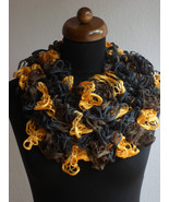 Ruffle scarf, Frilly scarf, Knitted scarf, Black yellow scarf, Mother's ... - $12.00
