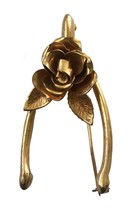 Vintage Coro Rose Wishbone Brooch Good Luck - $20.19