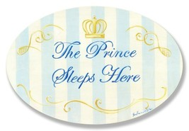 The Kids Room by Stupell The Prince Sleeps Here Blue And White Stripes W... - $26.58