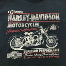 Harley Davidson Imagen Retro Camisa Dos Caras Azul Marino Motero Camiseta TALLA image 4