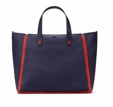NWT 100% Auth. Tory Burch Whipstitch Med. Tote in Tory Navy + Gift Bag; ... - $361.34
