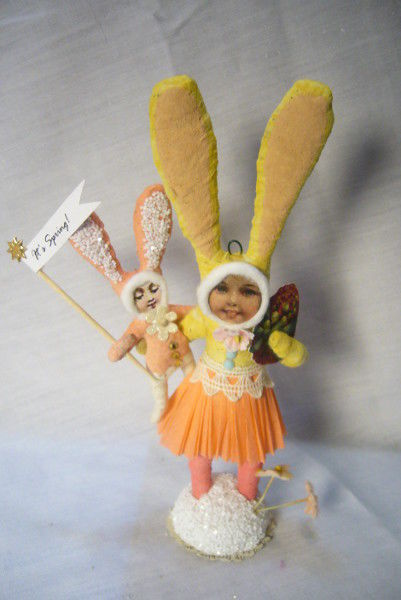 Vintage Inspired Spun Easter Bunny Mom and Child no. 167
