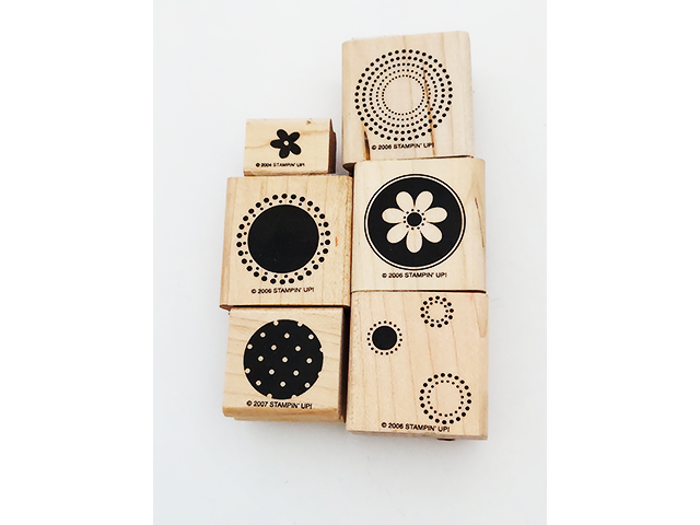 Stampin' Up! Flowers and Circles Wood Mounted Rubber Stamps, Set of 6