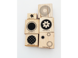 Stampin' Up! Flowers and Circles Wood Mounted Rubber Stamps, Set of 6 image 1