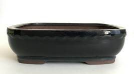 "Bonsai Cactus Pot Planter Glazed Clay 10"" Navy Blue Rectangular Footed - $17.99"