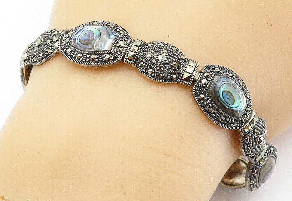 925 Sterling Silver - Vintage Abalone Shell & Marcasite Chain Bracelet - B6062