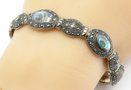 925 Sterling Silver - Vintage Abalone Shell & Marcasite Chain Bracelet -... - $76.86