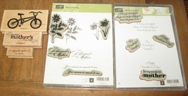Stampin Up Lot Blessed Wonderful Mother Happy Day Stamp Set Flowers Bike... - $44.09