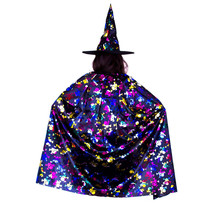 HALLOWEEN Metallic Black and Multicolored Witch Skulls Spiderwebs Cape - $5.90