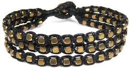 Blissful Strands Cubic Fashion Brass Beads Black Cotton Wax Rope Strand ... - $57.91