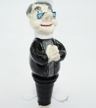 Priest Clergy Minister Figural Wine Bottle Stopper Clerical Collar Praying - $12.86