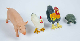 SAFARI LTD LOT 4 FARM ANIMALS PIG ROOSTER HEN PAINTED TURTLE FIGURES - $8.21