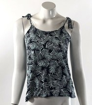 Gap Luxe Tank Top Size XS Blue Green Palm Frond Print Tie Shoulders Womens - $9.64