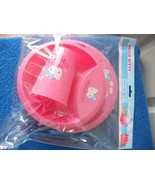 New Hello Kitty Dinner Set of 3 Plate Bowl Cup Pink Plastic - $12.19
