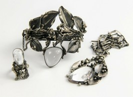 ESTATE Jewelry SILVER & ROCK CRYSTAL BRUTALIST PARURE SET BRACELET NECKL... - $1,825.00