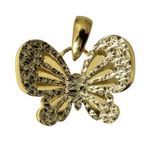 14K Real 2 Tone Yellow and White Gold Butterfly Tiny Charm Pendant - $67.90+