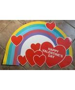 """Vtg Large 28"""" Hallmark Poster Card Die Cut Rainbow Hearts Valentines 1986 - $10.00"""