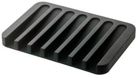 YAMAZAKI home Flow Soap Tray - Silicone Holder Dish for Sink, Black - $10.54