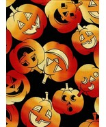 Last Yd, Timeless Treasures Jacks on Black, Pumpkin, Halloween,Cute Quil... - $13.31