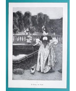 LADY Fancy Dress Walk in Park Poodle Dog - VICTORIAN Era Print - $16.20
