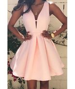 Pink Sleeveless Deep V Party Dress - Fit and Flare / Skater Style / Pink - $20.00
