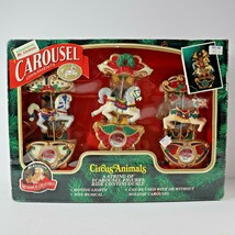 Vintage 1993 Mr Christmas Carousel Ornaments Circus Animals Set Of 3 Work Great  - $39.99