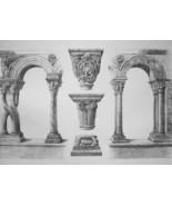 FRANCE Cloister at Arles Details - SUPERB 1843 Antique Print - $18.00