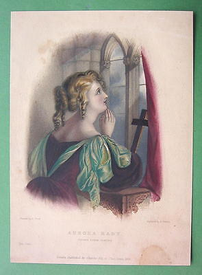Primary image for LORD BYRON'S Love Praying Aurora - Finely Hand Colored H/C Antique Print