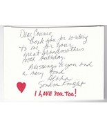 """SANDRA KNIGHT AUTOGRAPHED HAND WRITTEN NOTE ON CUT CARD """"HORROR MOVIE AC... - $7.68"""