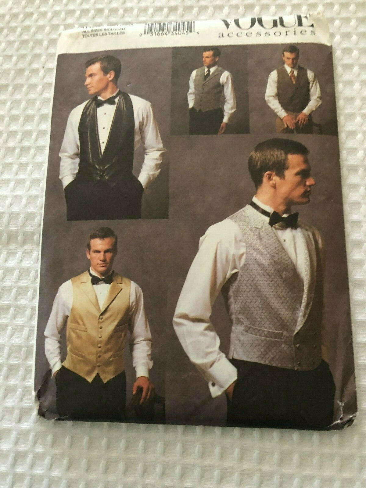New Vogue Accessories Men's Vest Pattern V7488 Sz. 30-48 Uncut