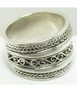 925 Sterling Silver 15MM Scroll & Braid Ring Sz 8.25 Gorgeous Tribal Ban... - $24.99