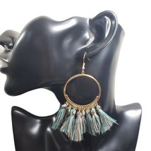 Fashion Jewelry Womens Green Tassel Hoop French Hook Earrings Sz OS - $20.00