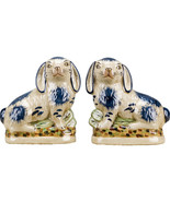 Staffordshire Style Pair of Blue Porcelain Rabbits/Bunny Hares 8'' x 8''H - $137.61