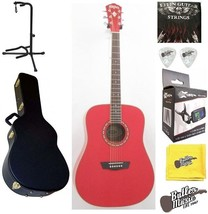 Washburn Apprentice WD10R Red Dreadnought Acoustic Guitar w/Hard Case + ... - $228.00