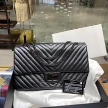 Chanel Black 2.55 Reissue SO BLACK CHEVRON Calfskin 227 Jumbo Double Flap Bag image 1